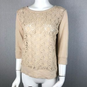 Loft Crochet Lace Front Sweater Size Small